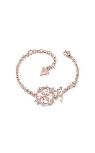 GUESS STEEL UBB28030-S Ροζ Χρυσό Βραχιόλι Με Λογότυπο & Σχέδιο