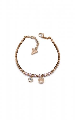 GUESS STEEL UBB28051-S Ροζ Χρυσό Βραχιόλι Με Ροζ Χάντρες
