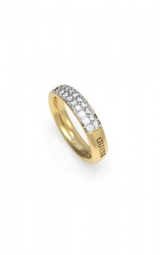 GUESS STEEL UBR78020-56 Χρυσό Δαχτυλίδι Με Λογότυπο & Πέτρες