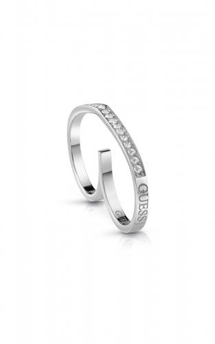 GUESS STEEL UBR28003-56 Ασημένιο Δαχτυλίδι Διπλό