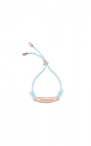 GUESS STEEL UBB85050-L Ροζ Χρυσό Βραχιόλι Με Γαλάζιο Κορδόνι