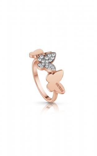 GUESS STEEL UBR78005-54 Ροζ Χρυσό Δαχτυλίδι Με Πεταλούδες