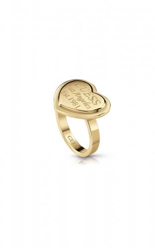 GUESS STEEL UBR28007-56 Χρυσό Δαχτυλίδι Με Καρδιά