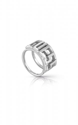 GUESS STEEL UBR78011-54 Ασημένιο Δαχτυλίδι Με Λογότυπο