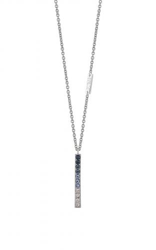 GUESS FAUX UBN83051 Ασημένιο Κολιέ Με Μπλε Πέτρες