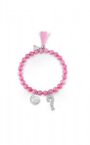 GUESS STEEL UBB85032-S Βραχιόλι Με Ροζ Χάντρες & Κρεμαστά