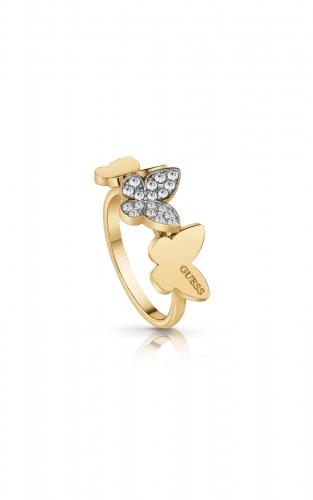 GUESS STEEL UBR78004-52 Χρυσό Δαχτυλίδι Με Πεταλούδες