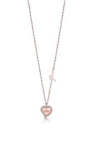 GUESS STEEL UBN78069 Ροζ Χρυσό Κολιέ Με Καρδιά