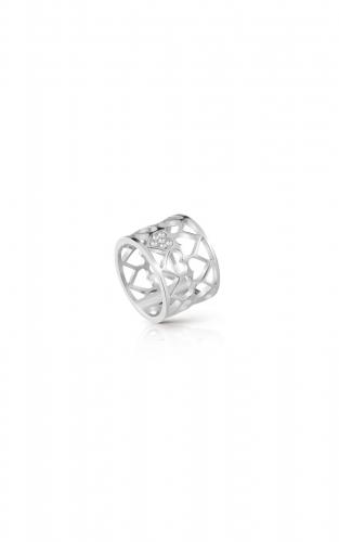 GUESS STEEL UBR85006-54 Ασημένιο Δαχτυλίδι Με Καρδιές